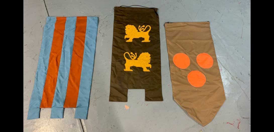 "547 CAMELOT CASTLE BANNERS (3 BANNERS) 1'-8"" X 3'-7"" (EACH BANNER)"